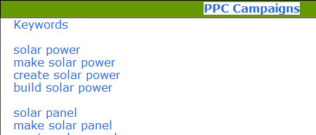 Earth4Energy abuses these PPC Adsense keywords