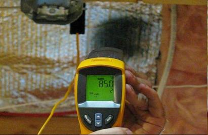 Fluke IR thermoneter reading bubble wrap temperature