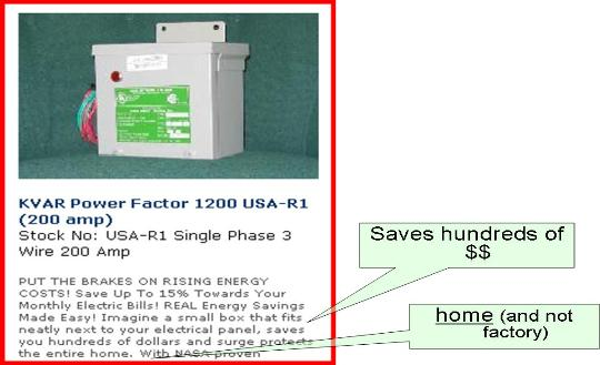 kvar power factor correction in the home is a scam power factor fraud ad