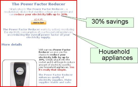 Power Factor fraud advertisement